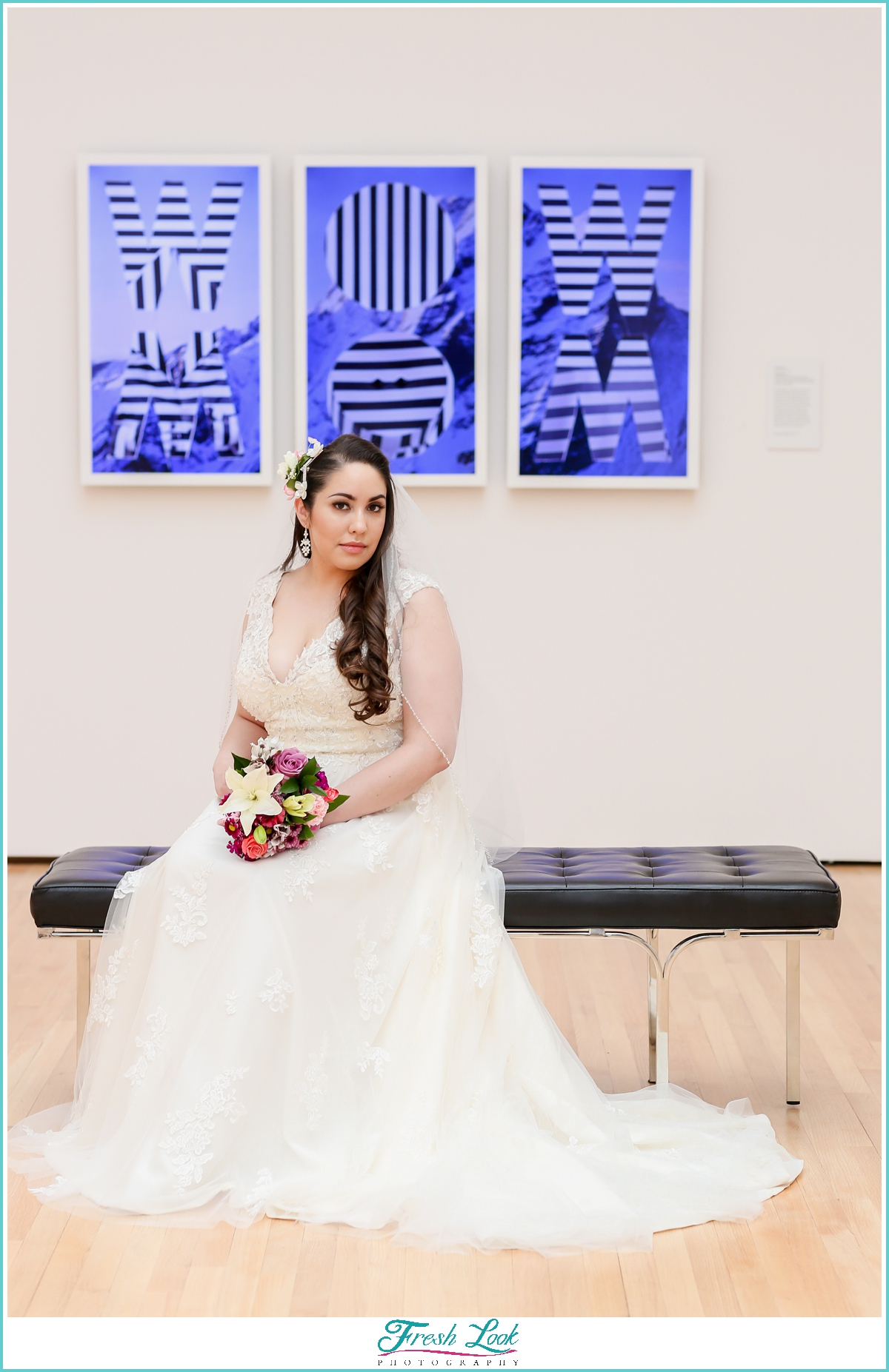 bride in colorful art gallery