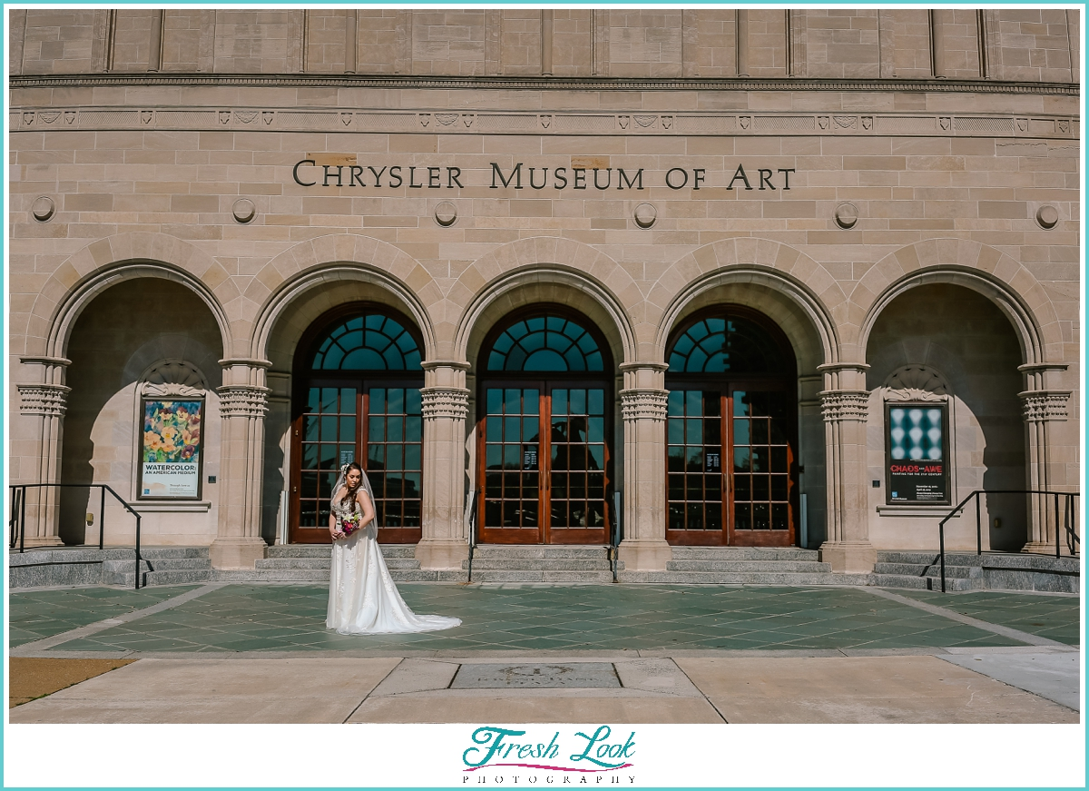 Chrysler Museum of Art bridal portraits
