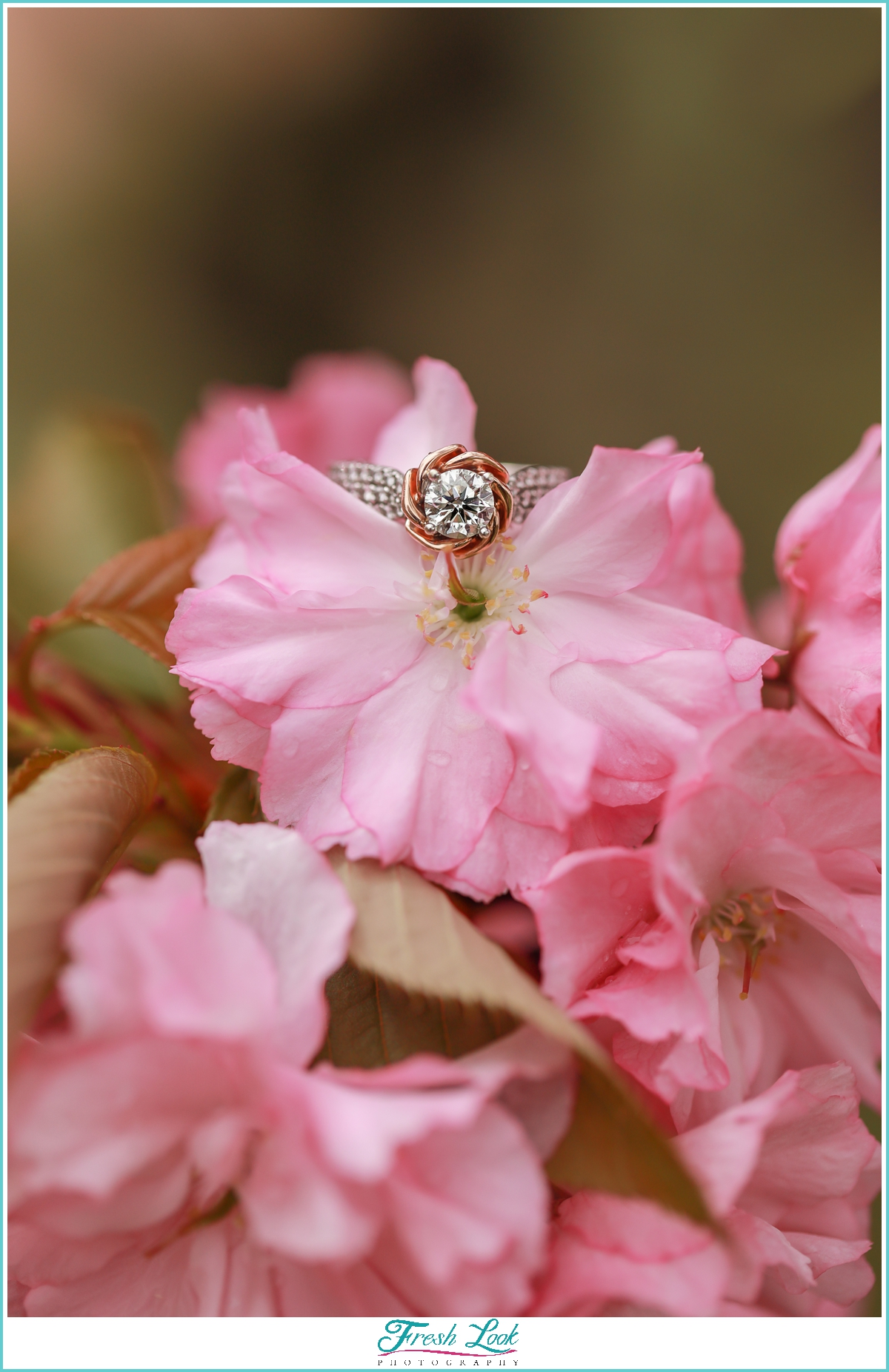 cherry blossom engagement ring photo