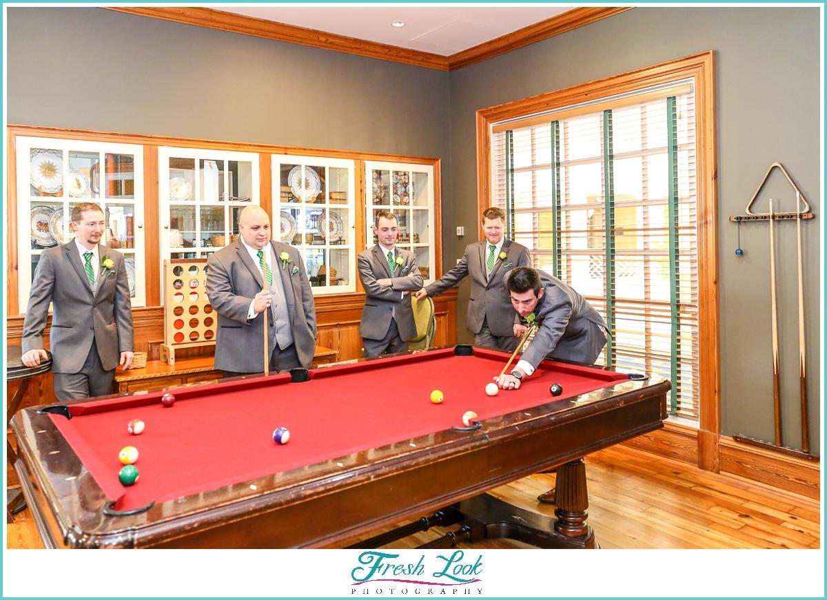 groom and groomsmen playing