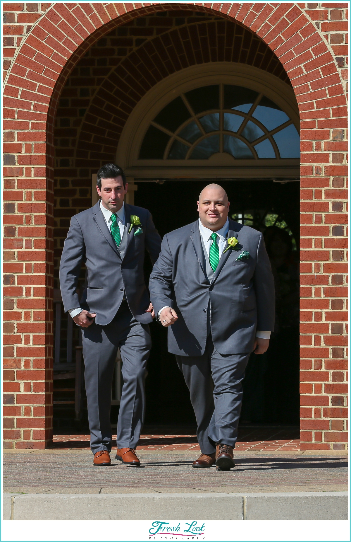 groom and best man walking down the aisle