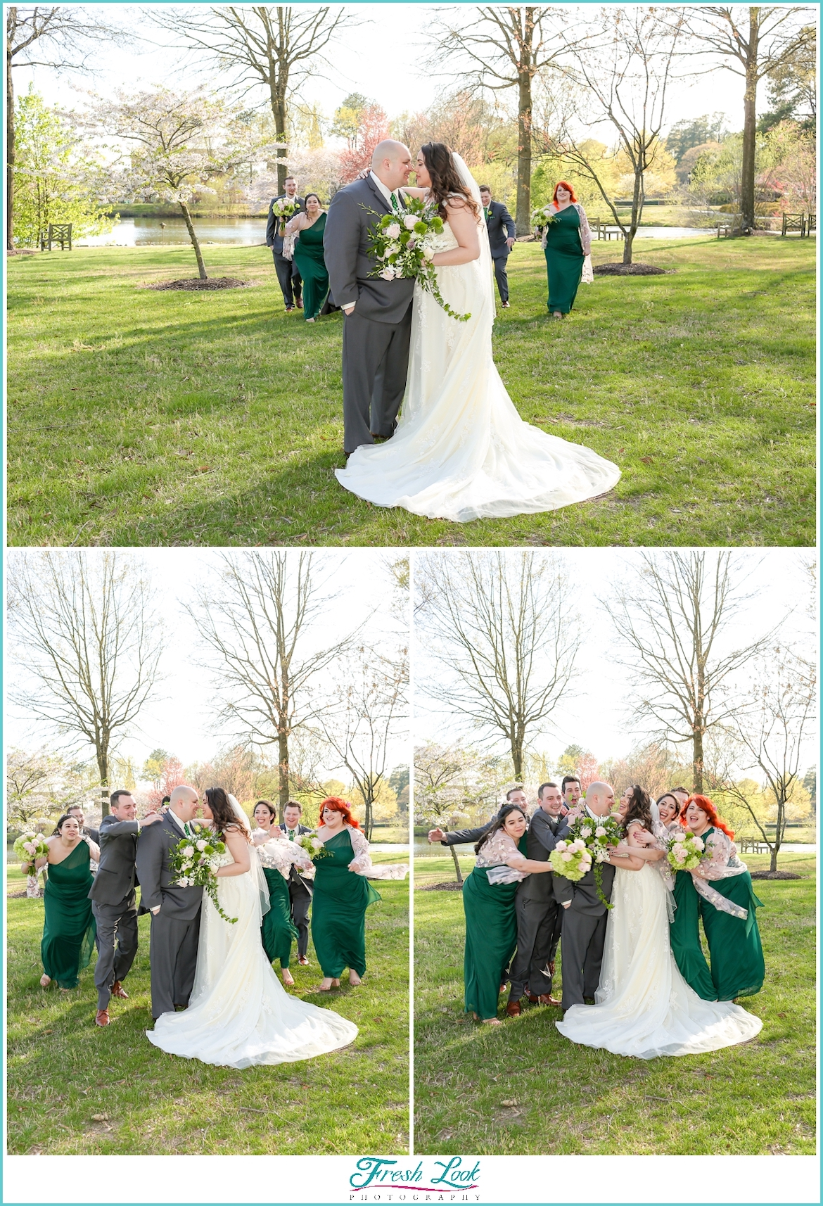 bridal party sneaking up on Bride and Groom