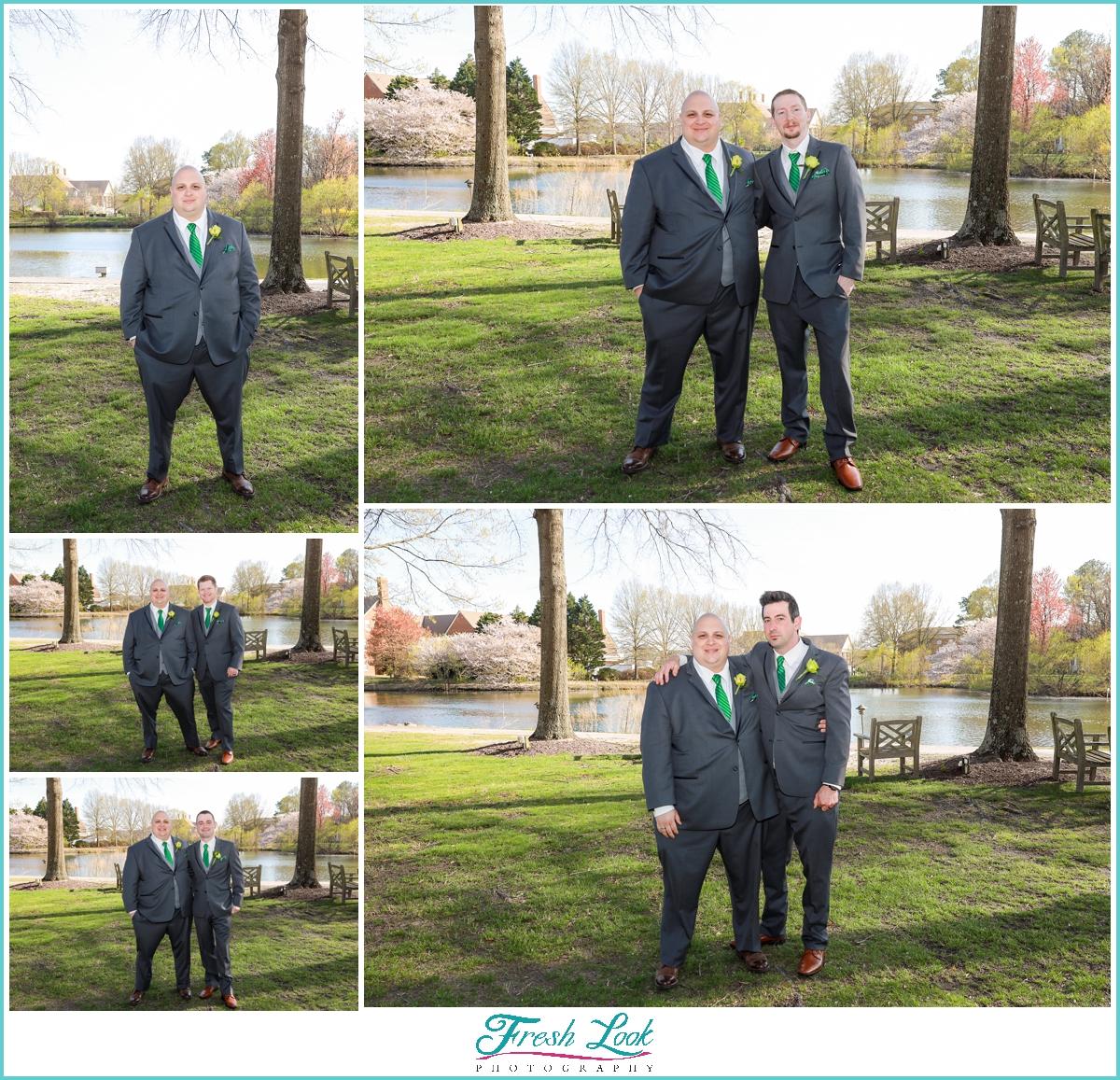 groom with each of his groomsmen