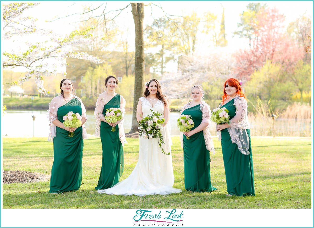 classy bride with her bridesmaids