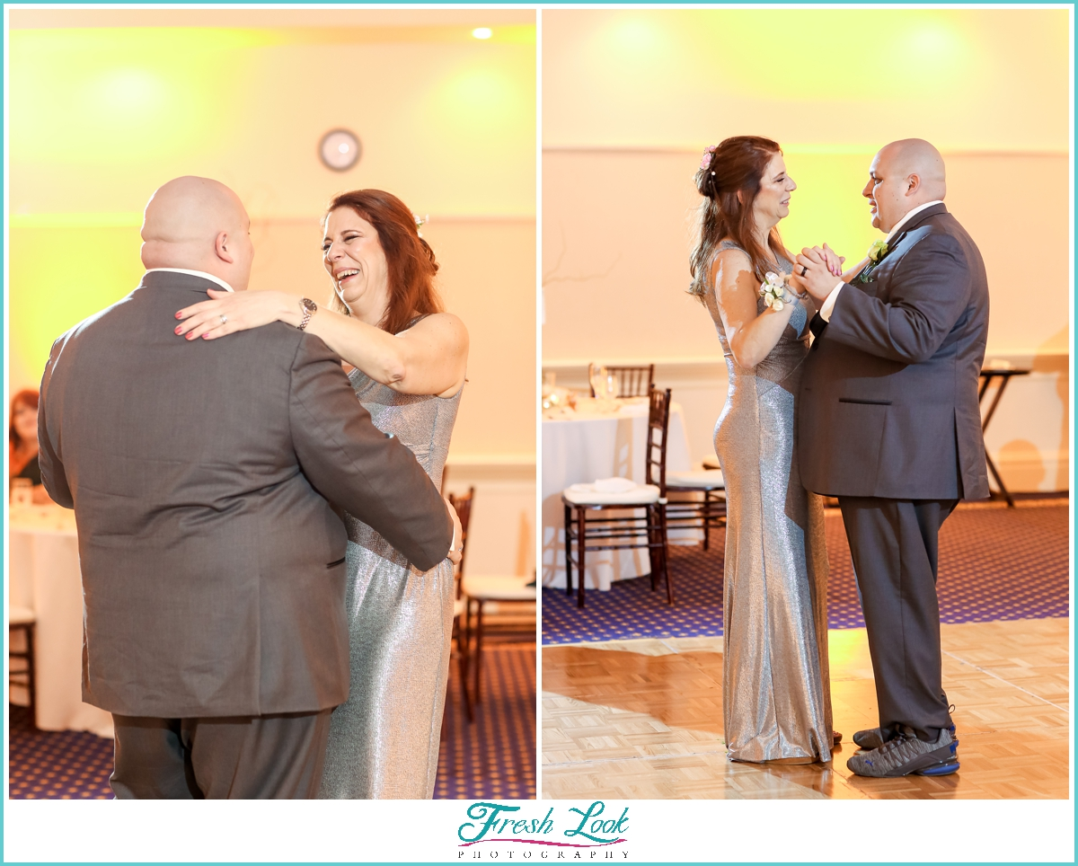 groom dancing with brides mom