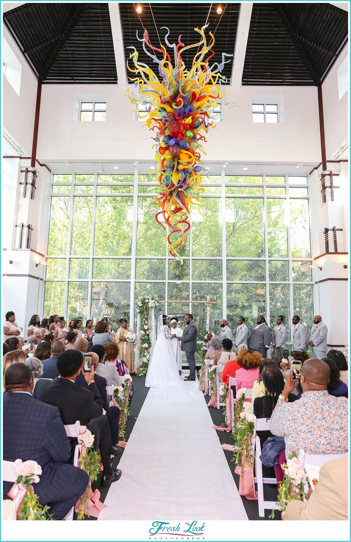 Romantic wedding ceremony at Virginia MOCA
