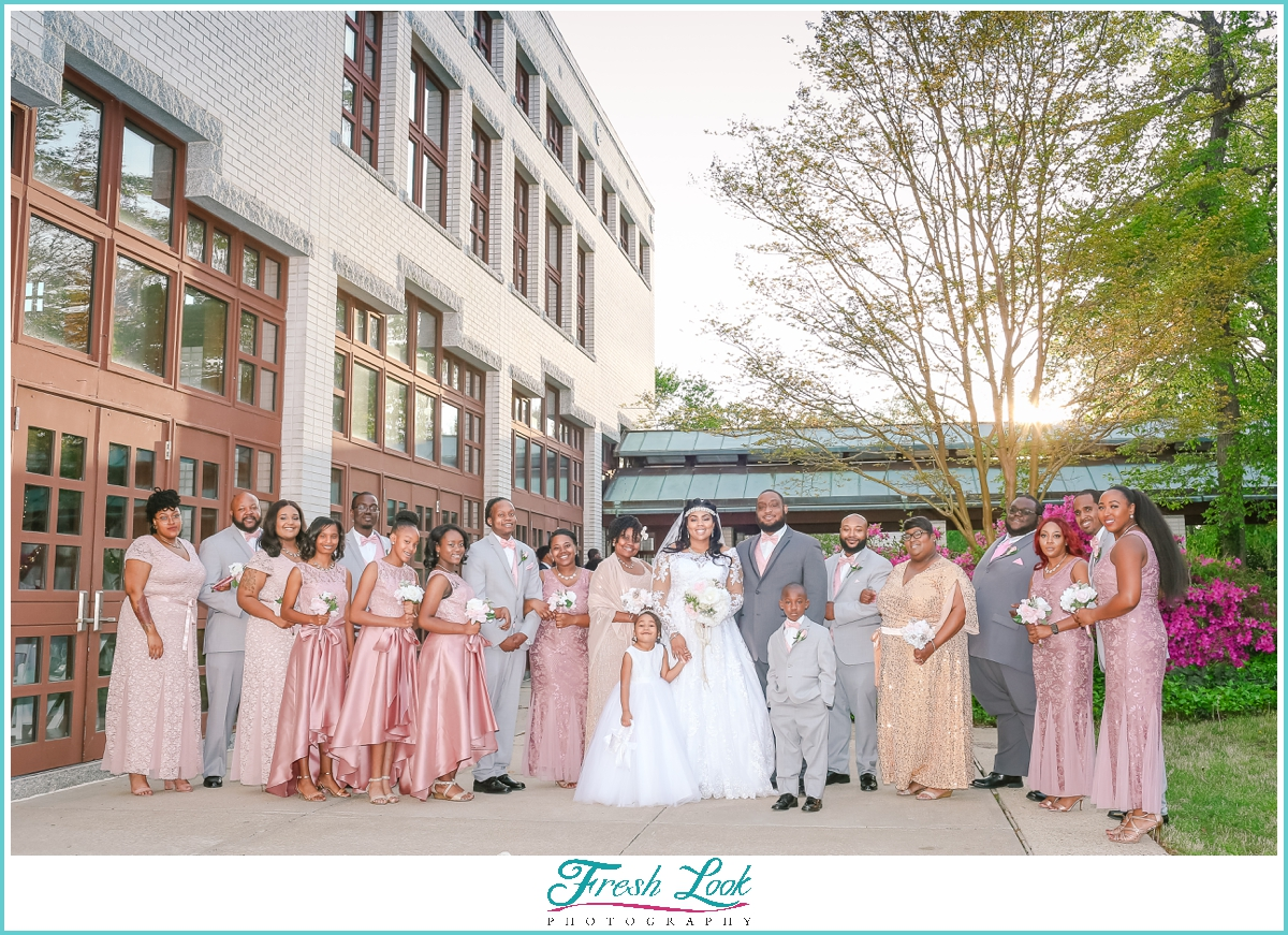 Blush and Gold wedding bridal party
