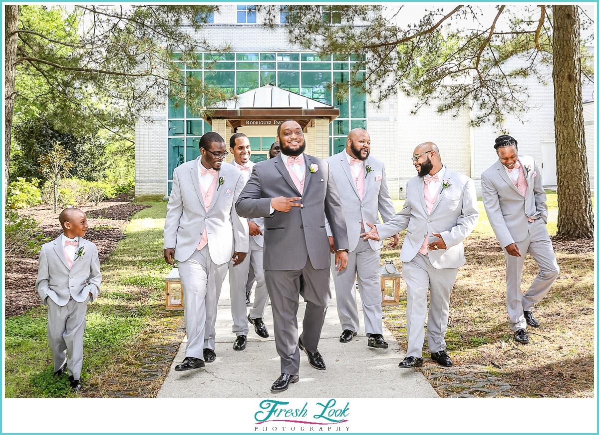 handsome groomsmen at Virginia MOCA