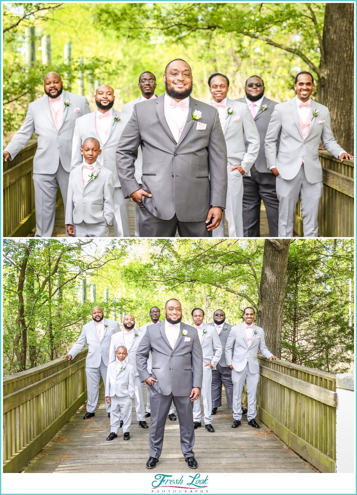 Groomsmen wearing gray suits