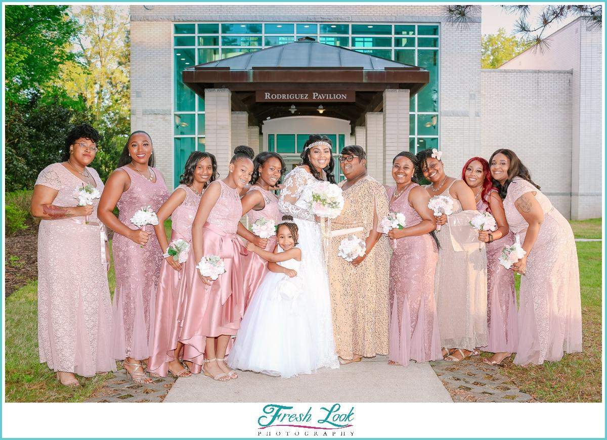 bridesmaids photos at Virginia MOCA