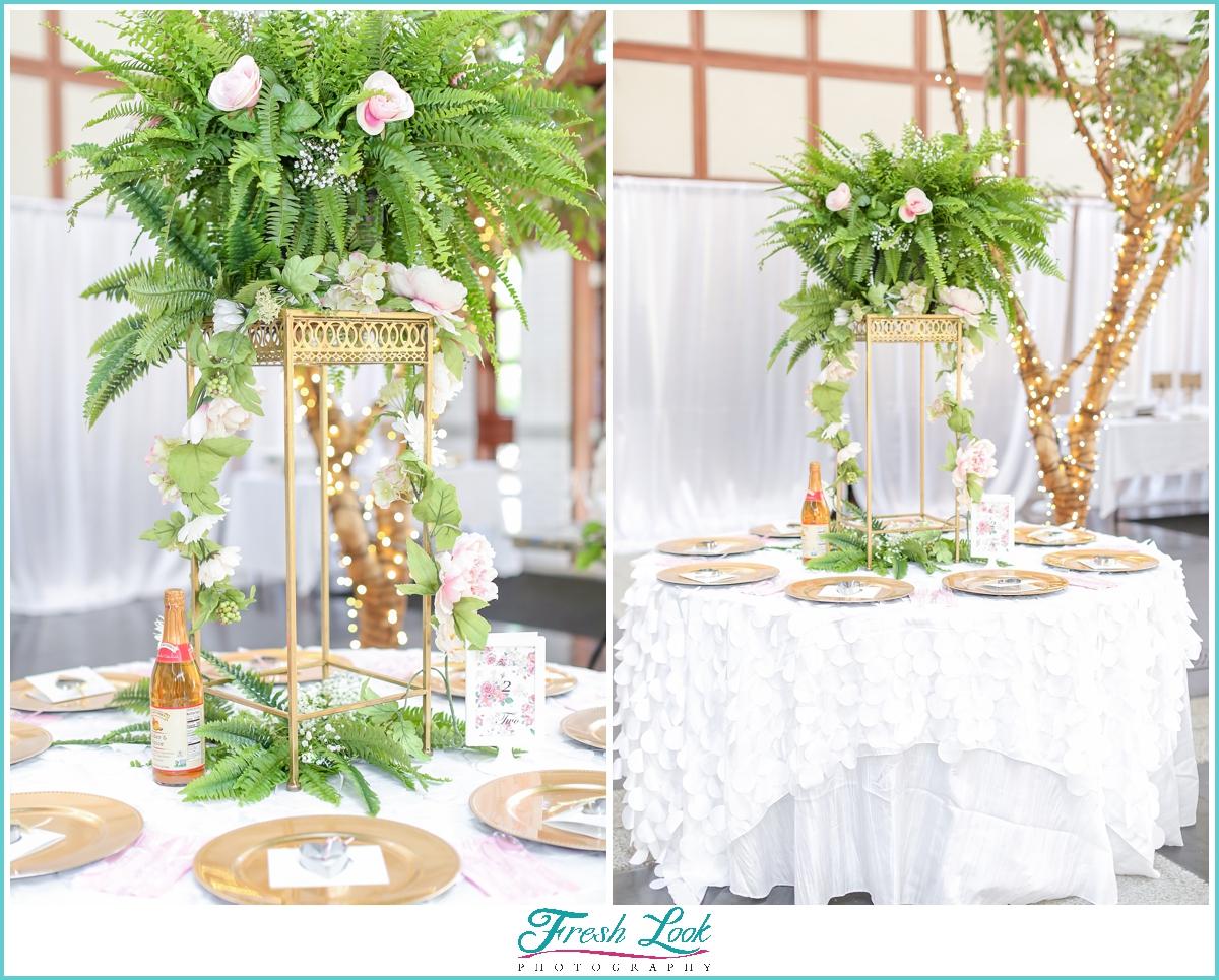 tropical themed wedding reception