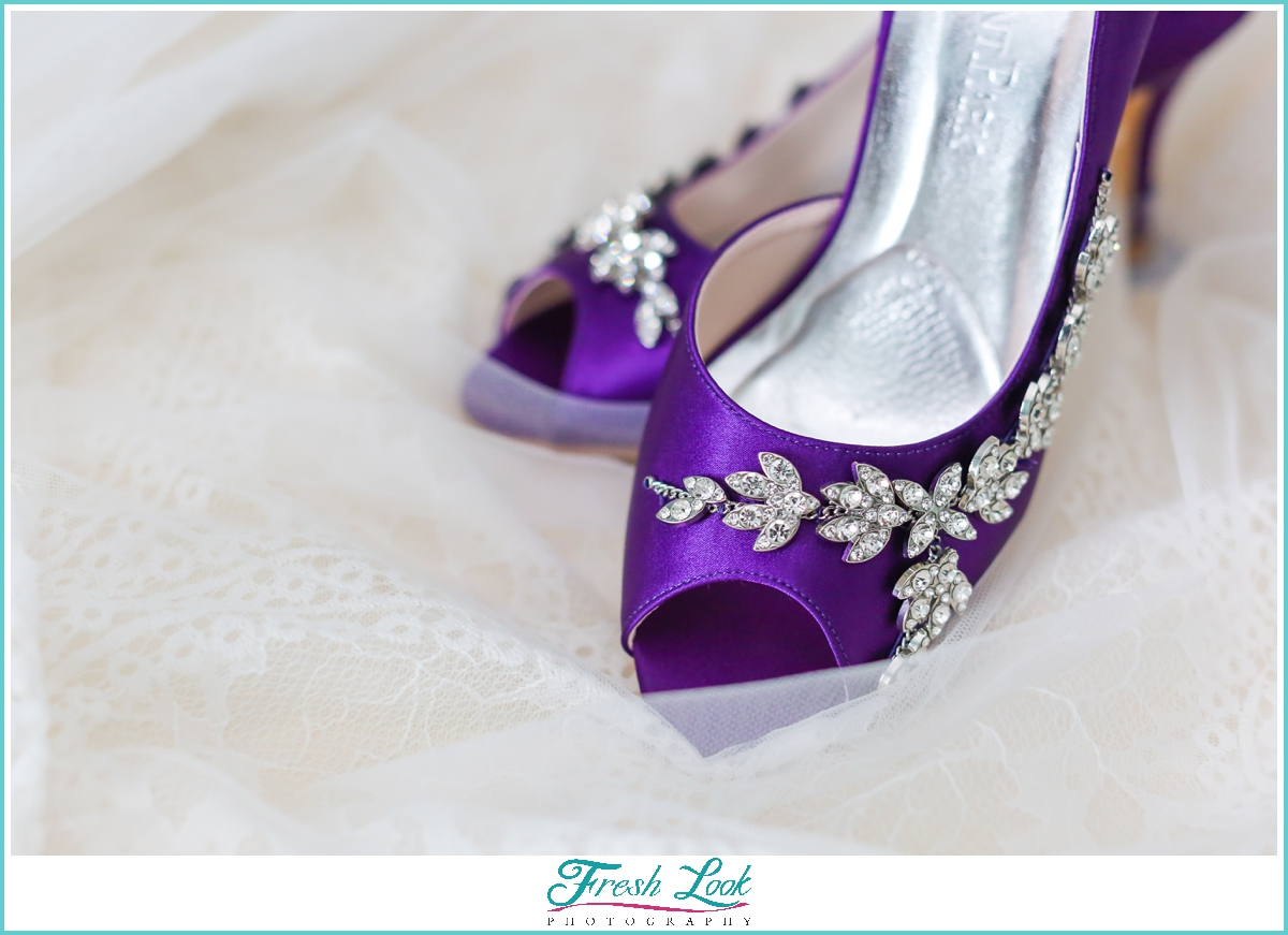 purple sparkly wedding heels