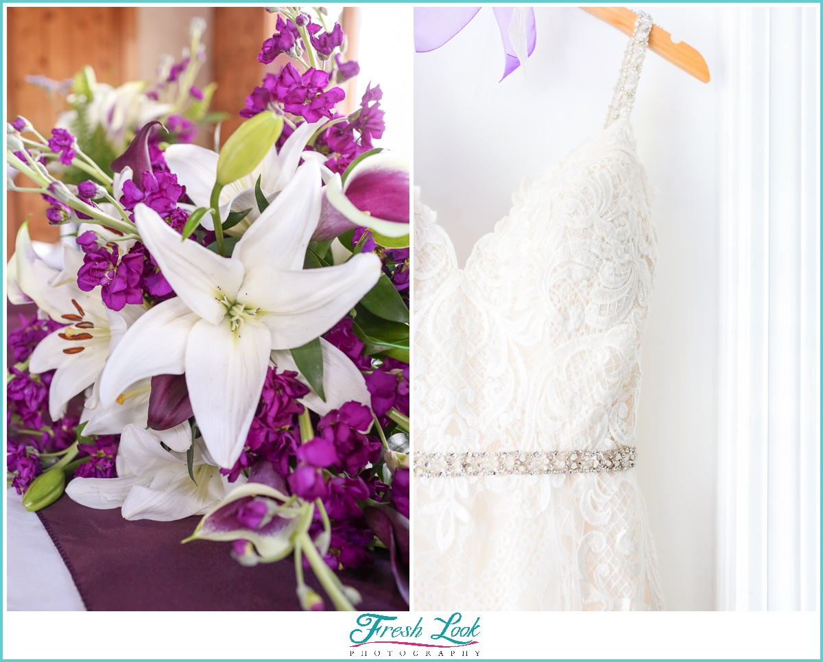 wedding dress details and bouquet