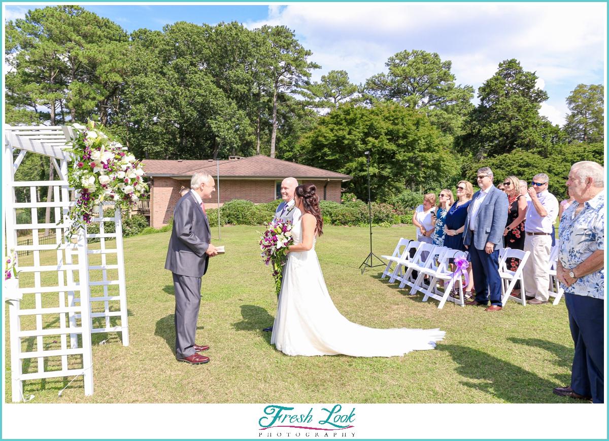 Outdoor wedding ceremony in July