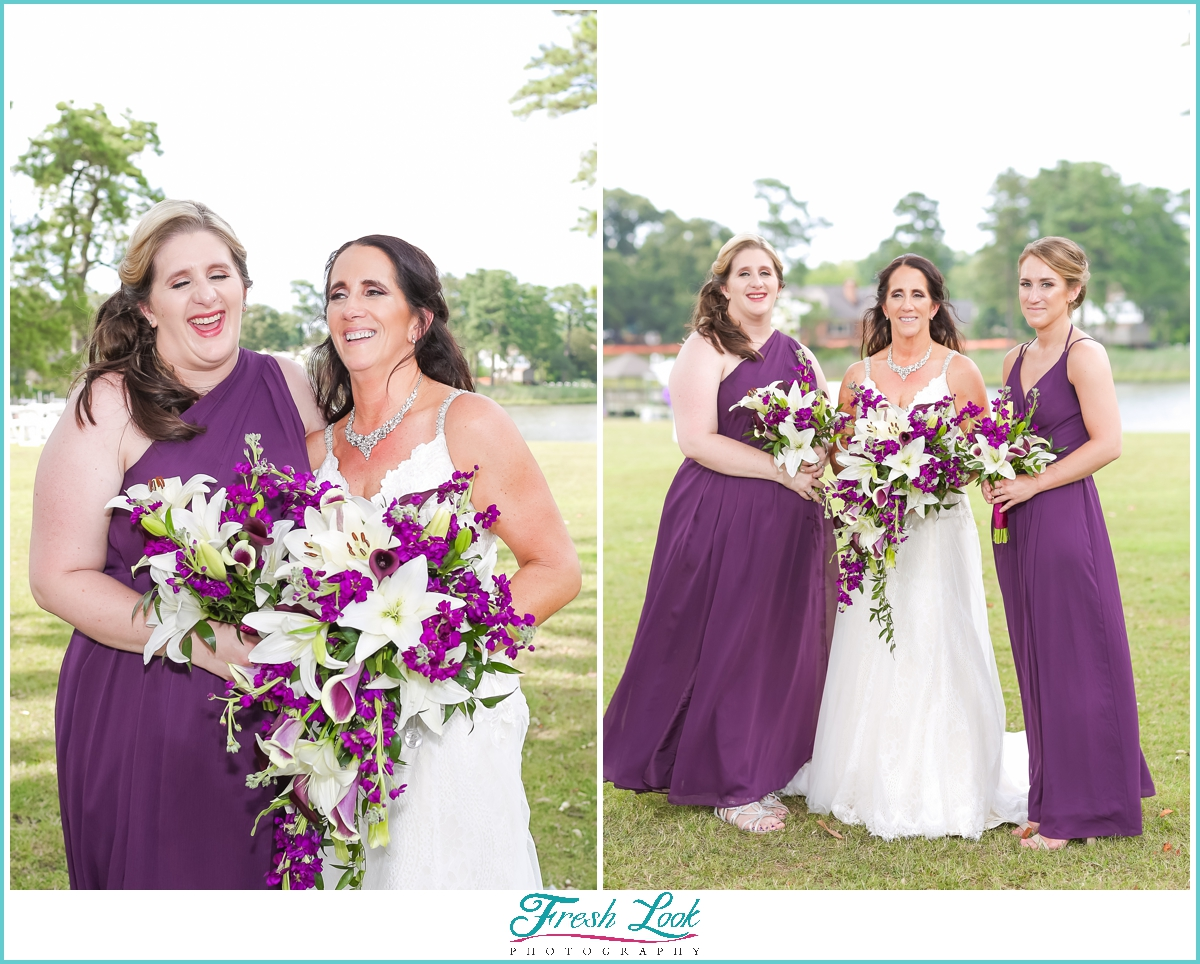 bridesmaids wearing purple dresses