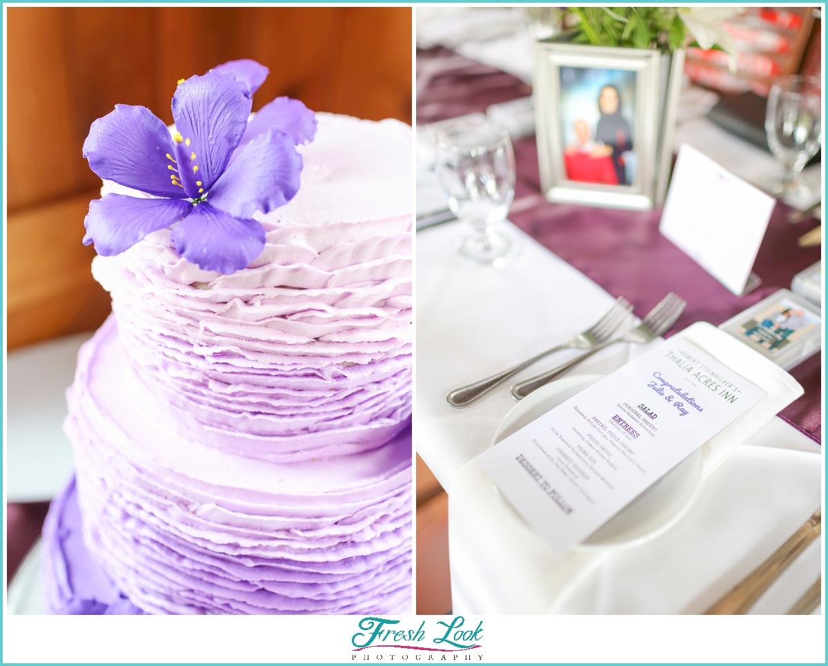 purple wedding cake and place setting