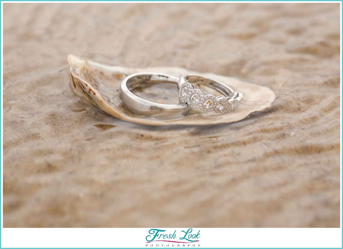 two wedding rings in the water