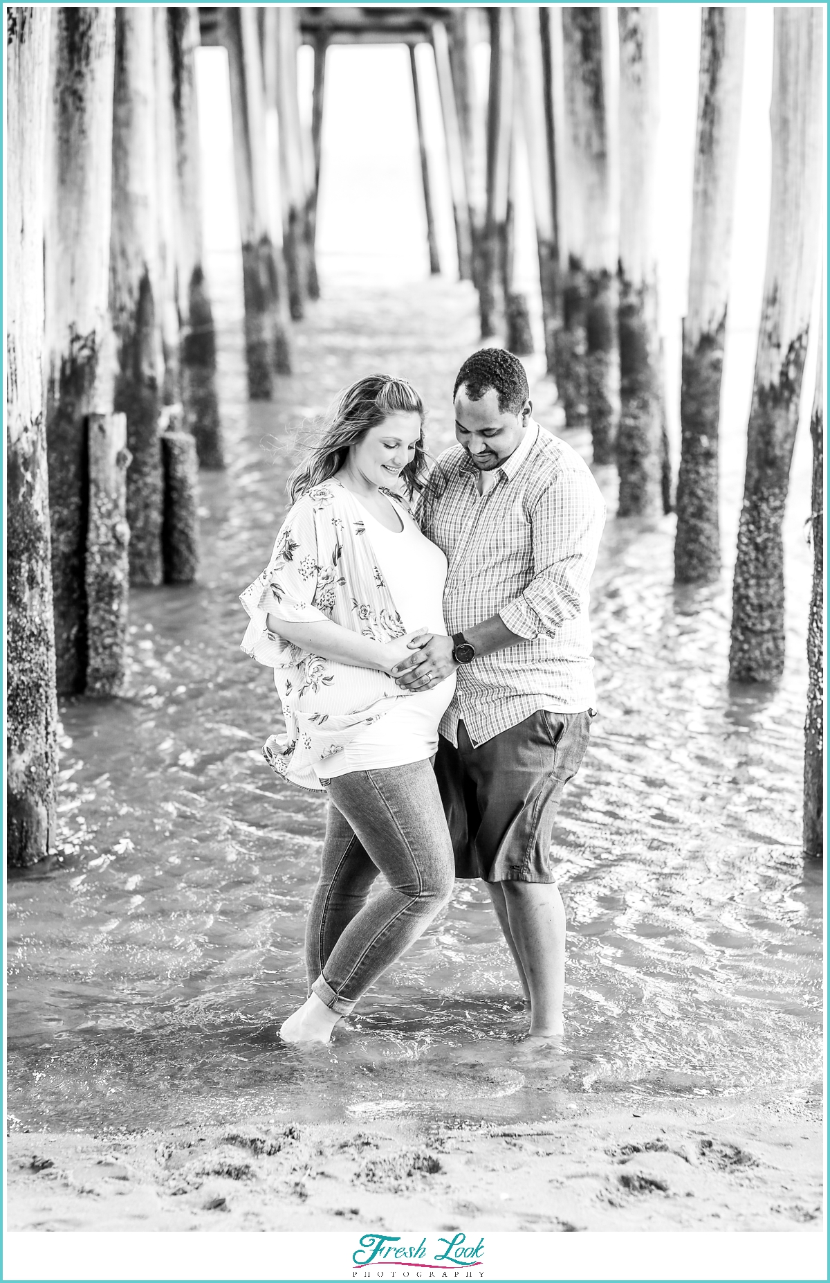 romantic maternity session at the beach