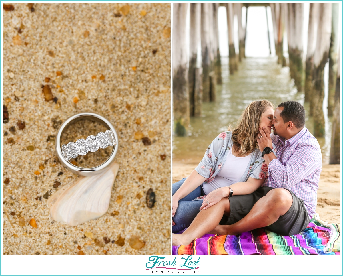 colorful beach engagement session