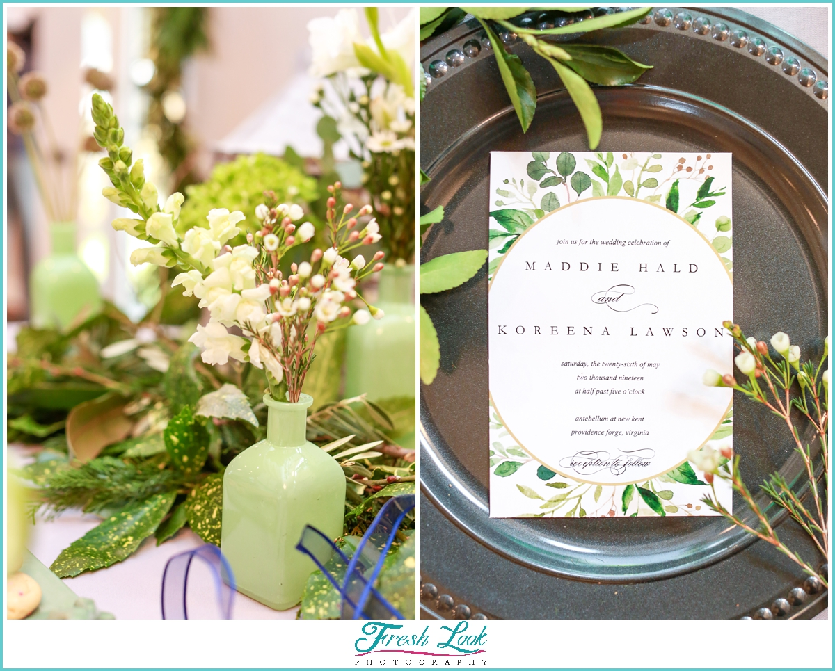 green spring themed wedding invitation