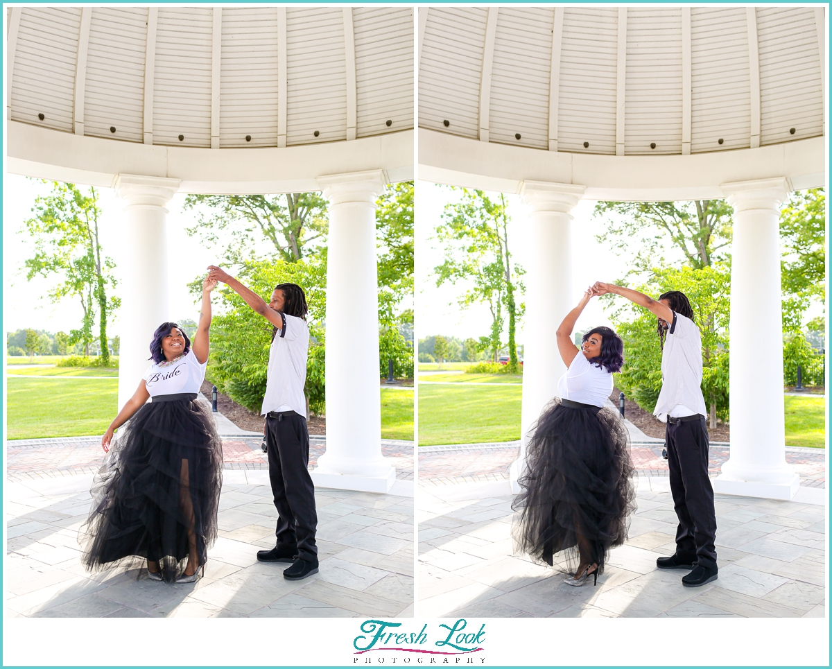 dancing during the engagement session