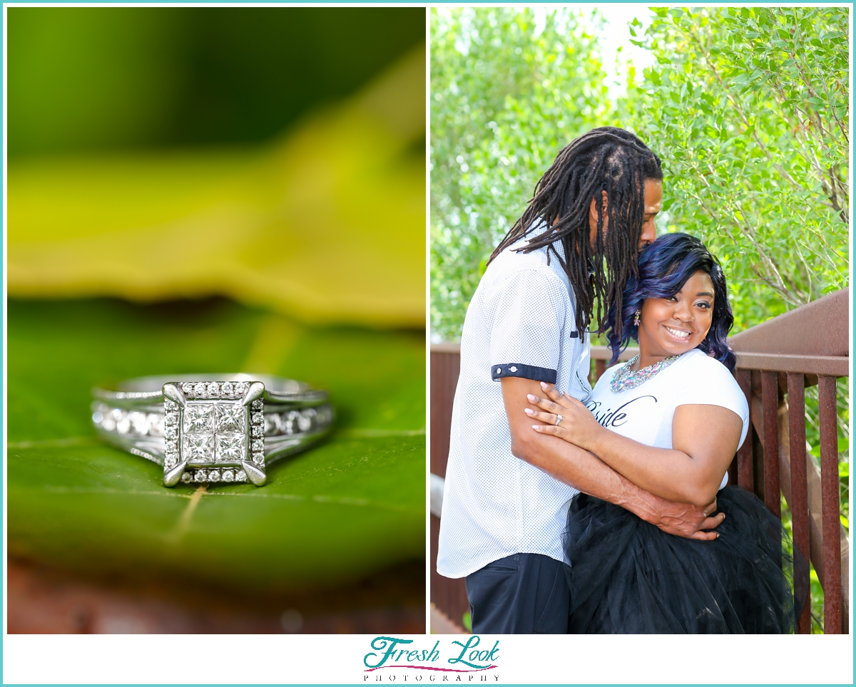 diamond ring and engagement photos