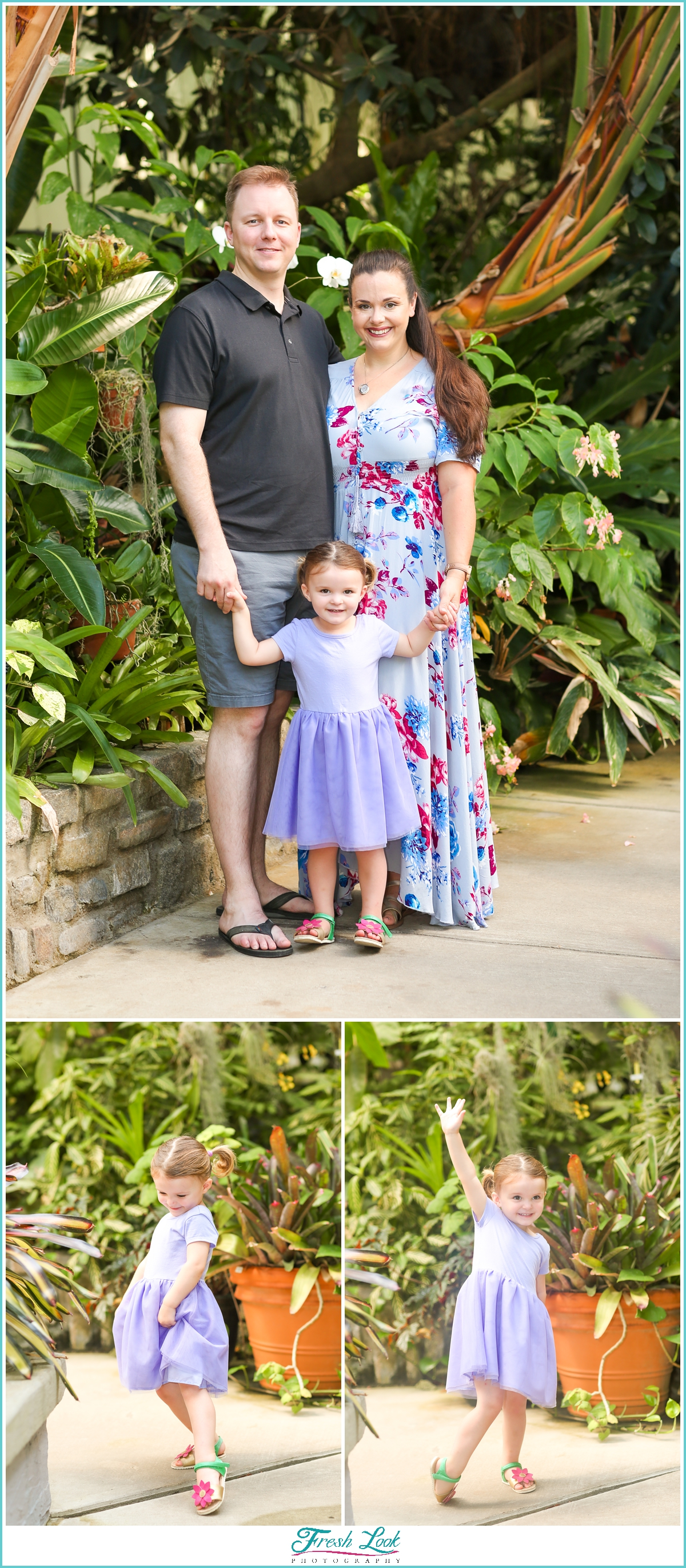 family photos in the greenhouse