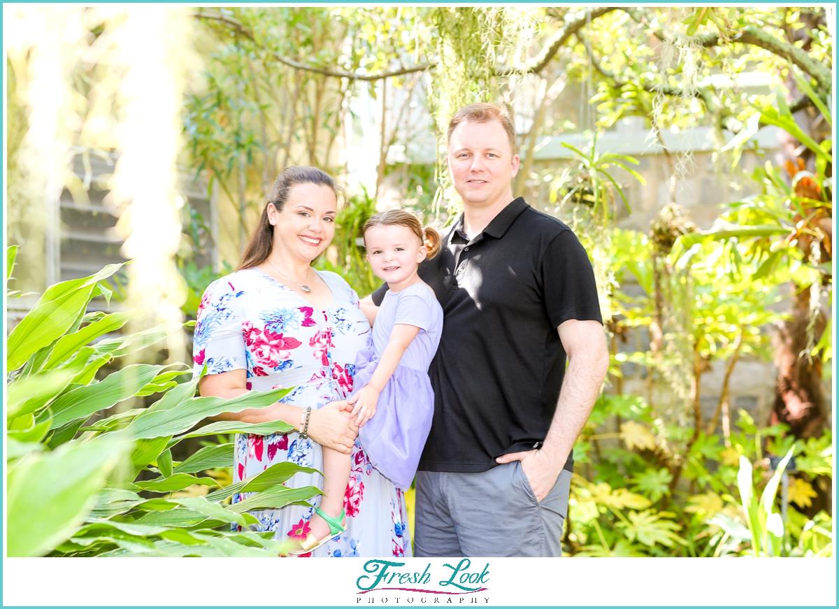 family photos at Norfolk Botanical Gardens