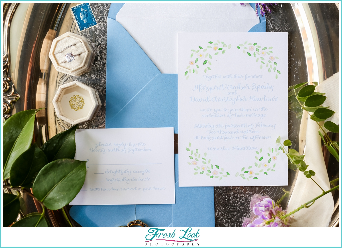 blue watercolor wedding stationery
