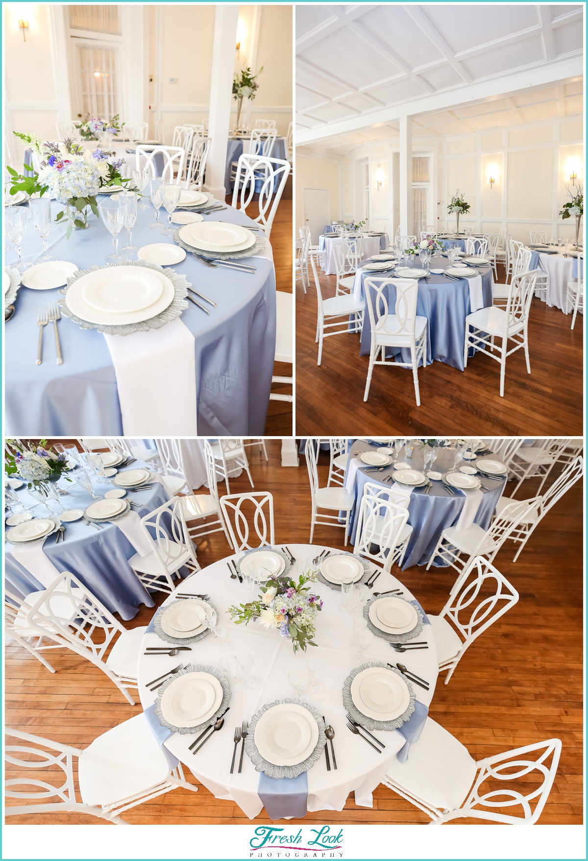 blue and cream wedding reception decor