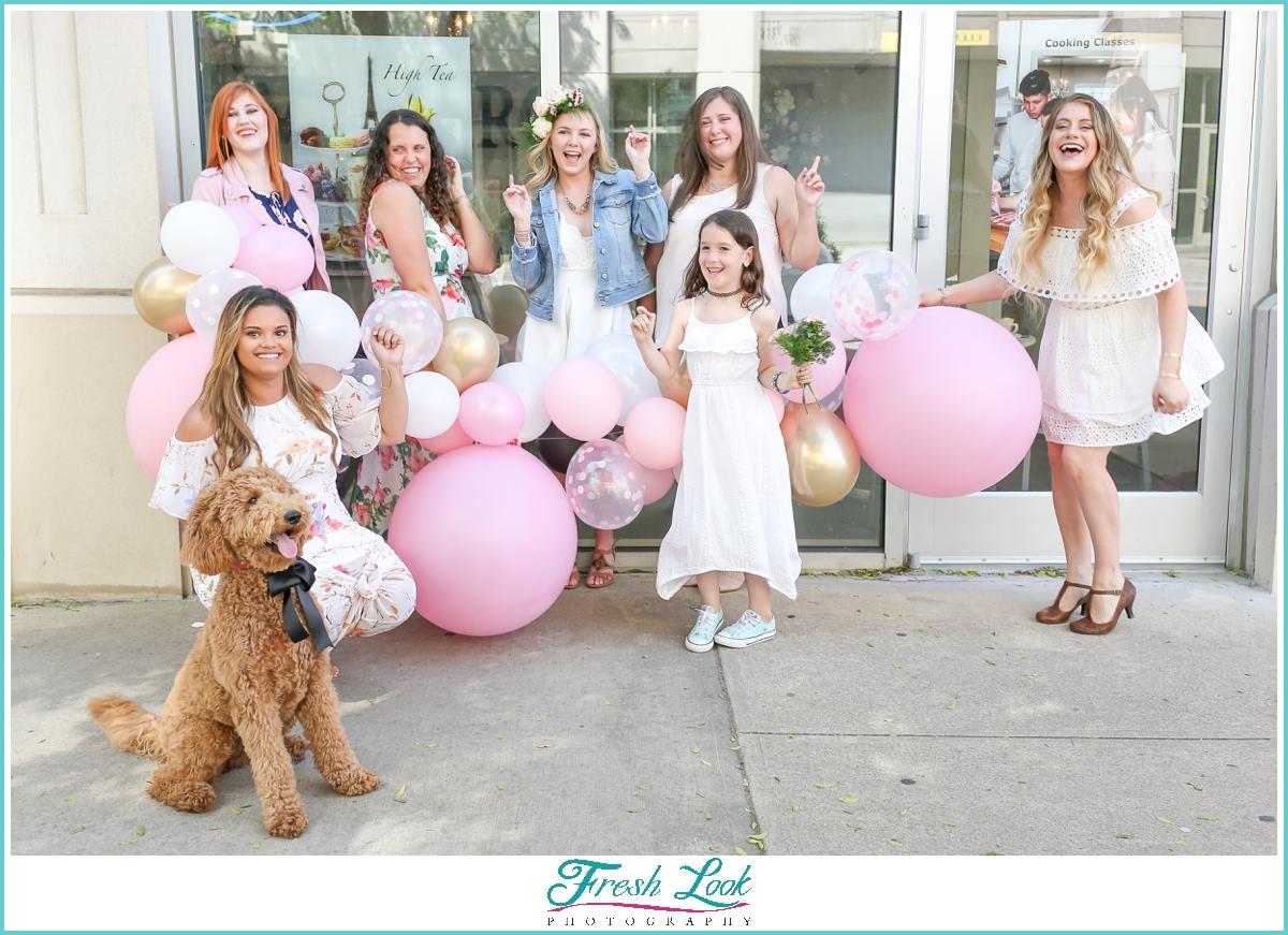 bridesmaids having fun together