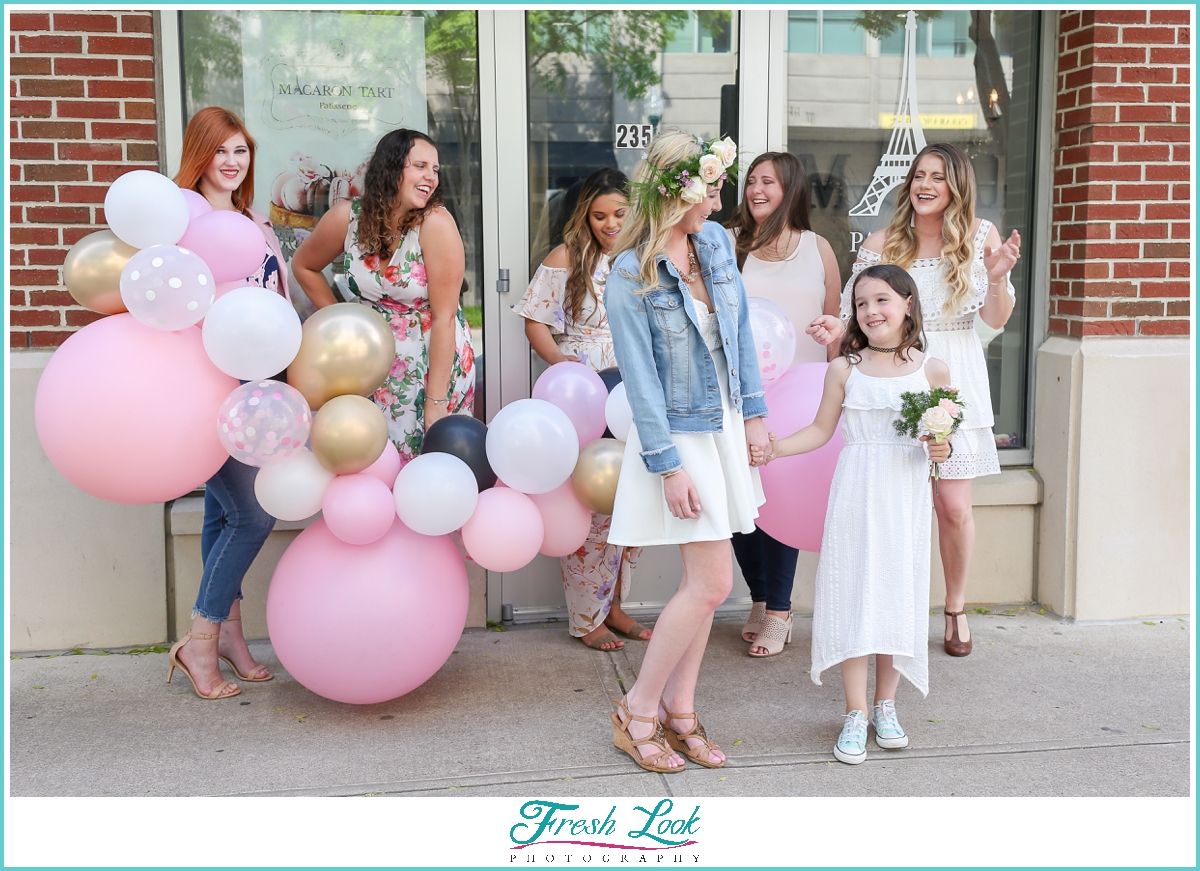 cute photo of bride and bridesmaids at Town Center Virginia Beach