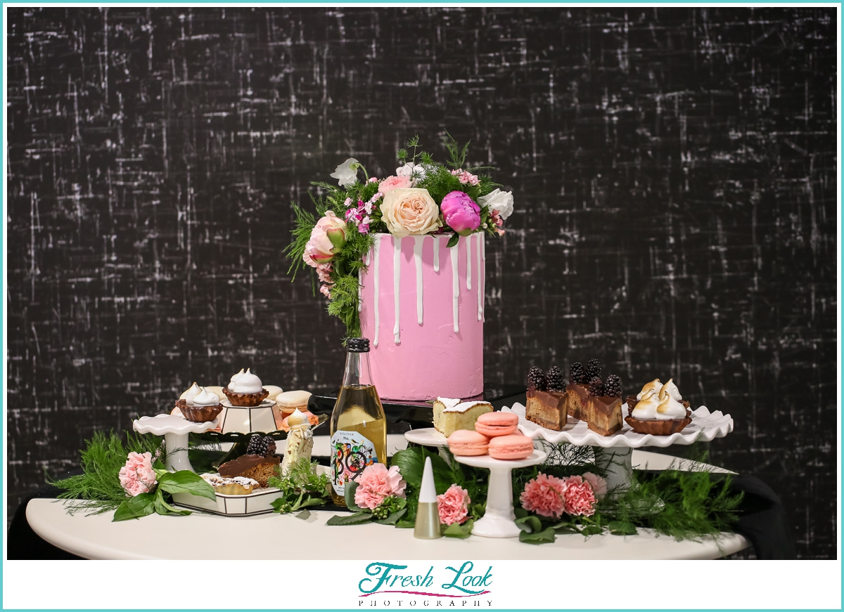 pink themed bridal shower sweets table