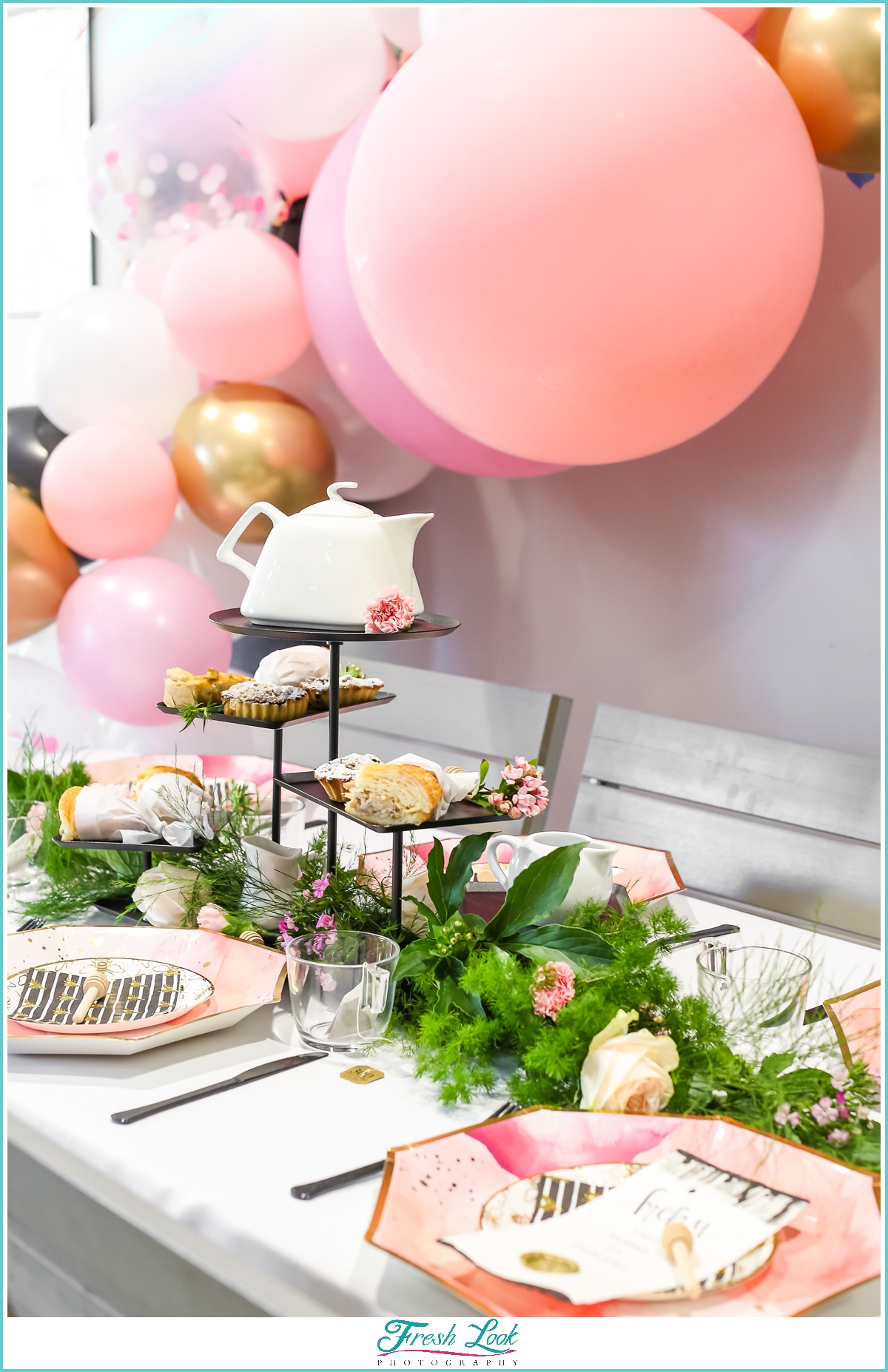 balloon arch at bridal shower tea party