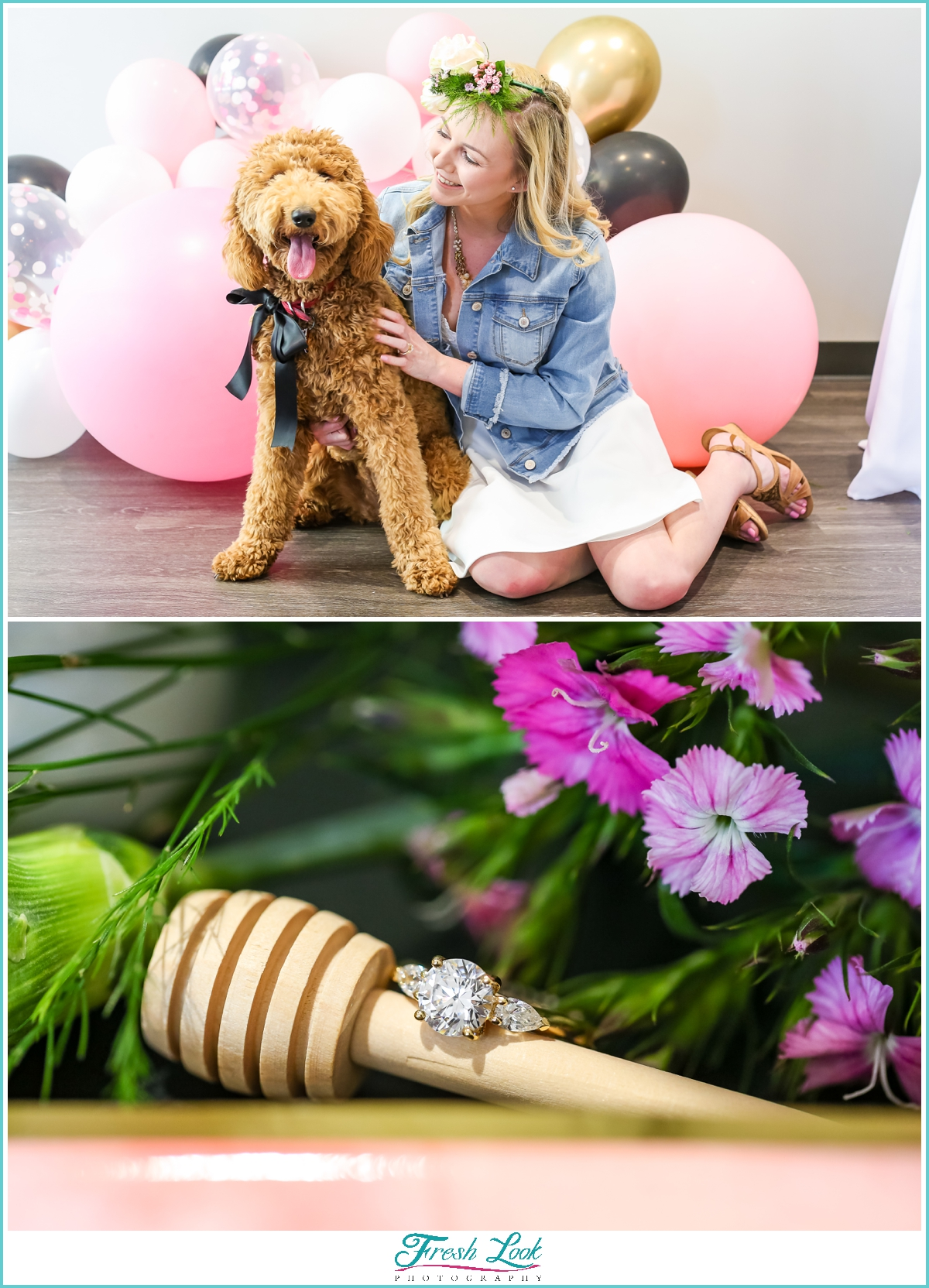 bride and her puppy dog
