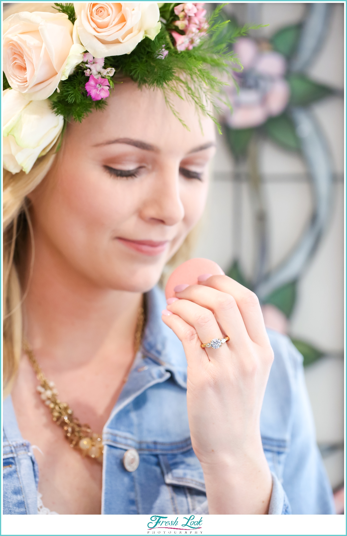 bride with floral crown and macaron