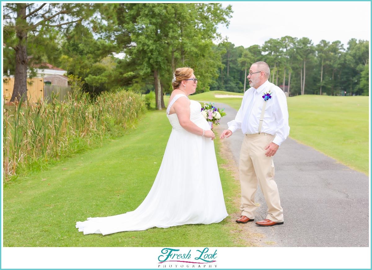 surprised groom seeing his bride