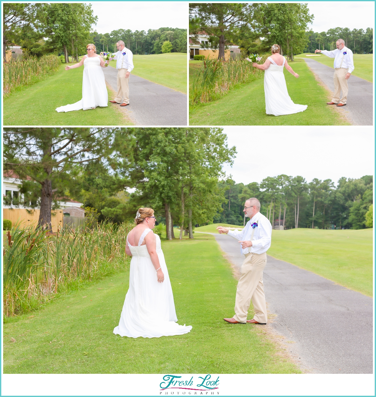 first look photos with bride and groom