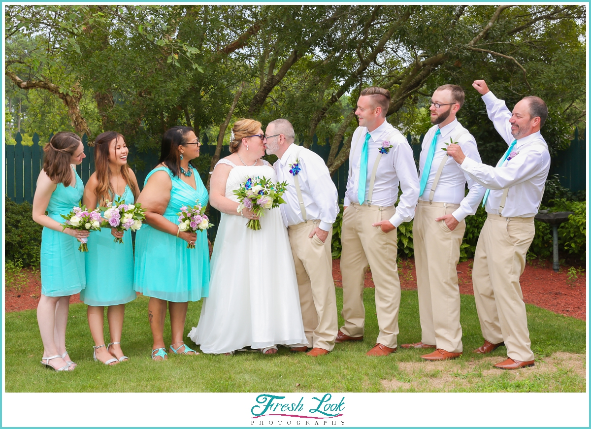 teal and tan bridal party colors