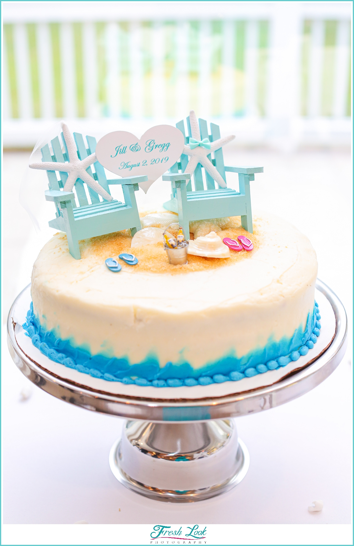 life's a beach wedding cake
