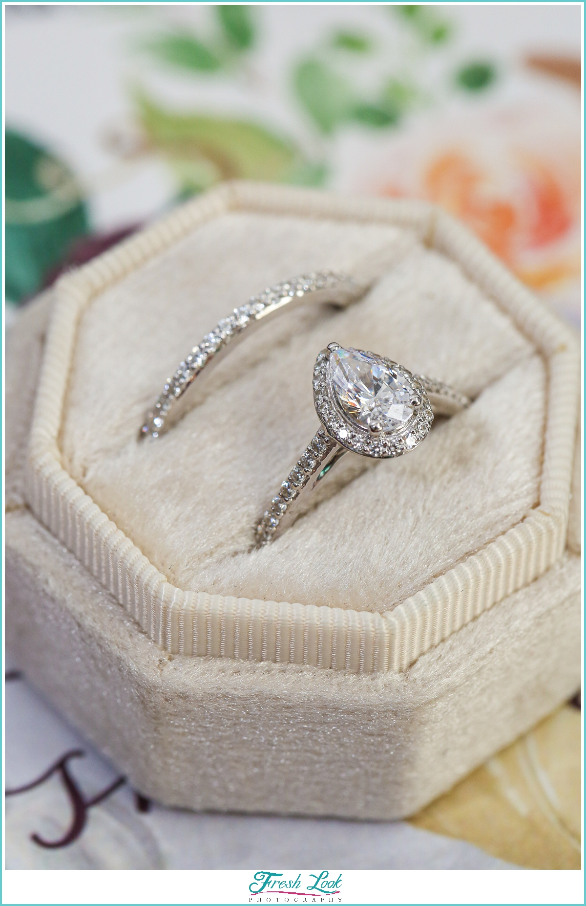 romantic diamond engagement and wedding ring