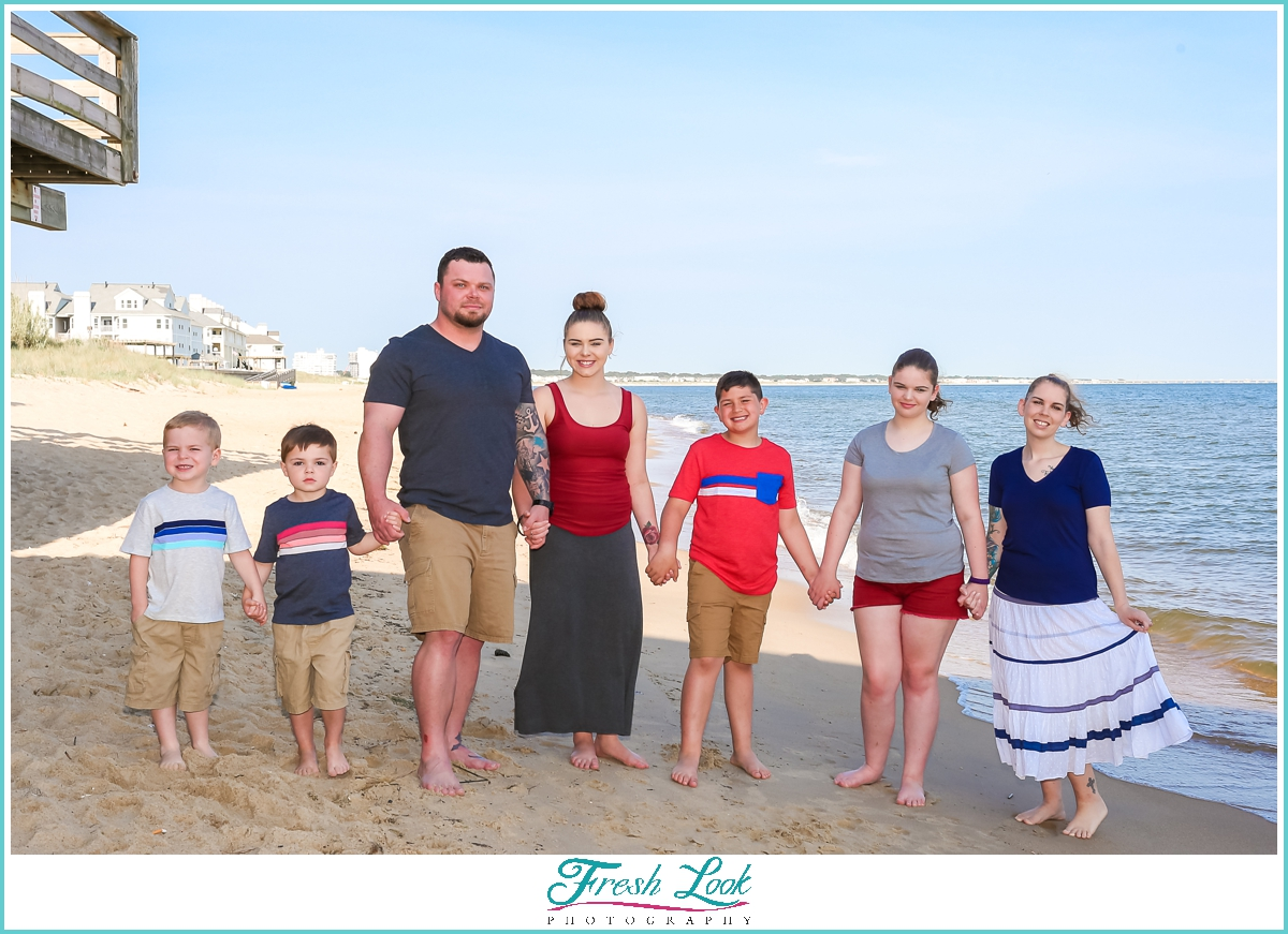 family photos on the beach