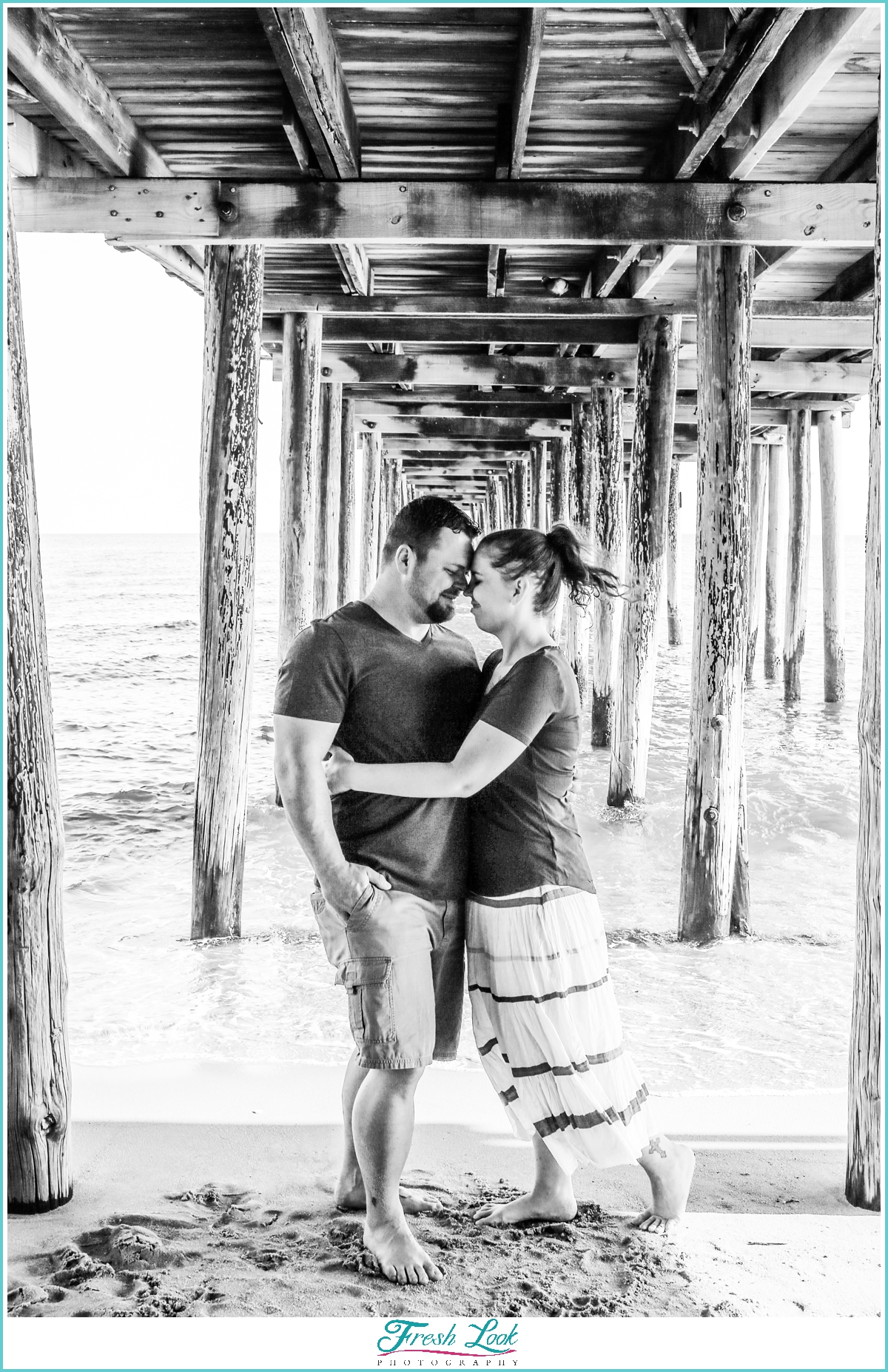 romantic black and white beach photography