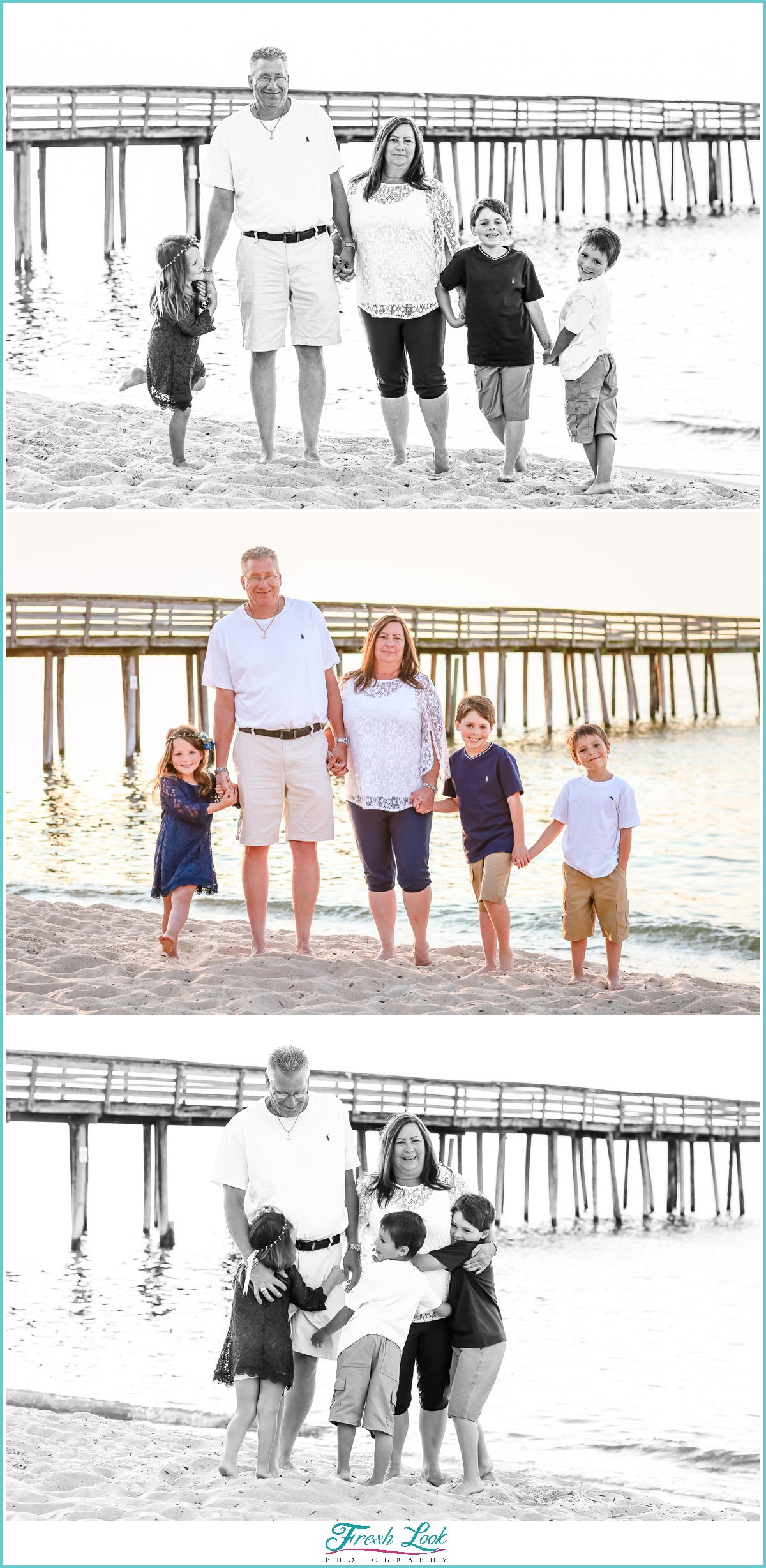 grandparents and grandkids on the beach