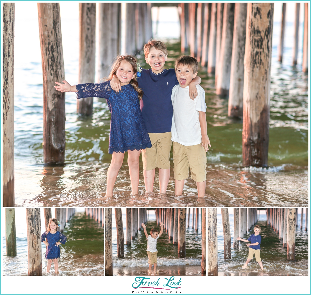 kids photoshoot under the pier
