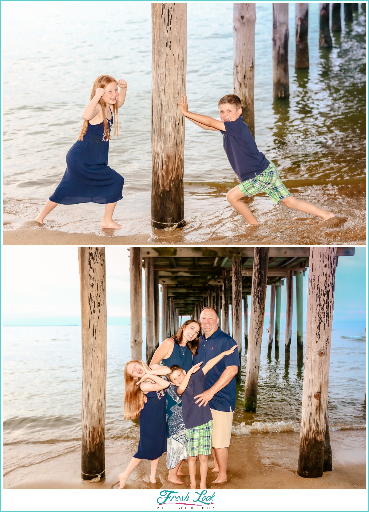 silly family photos under the pier