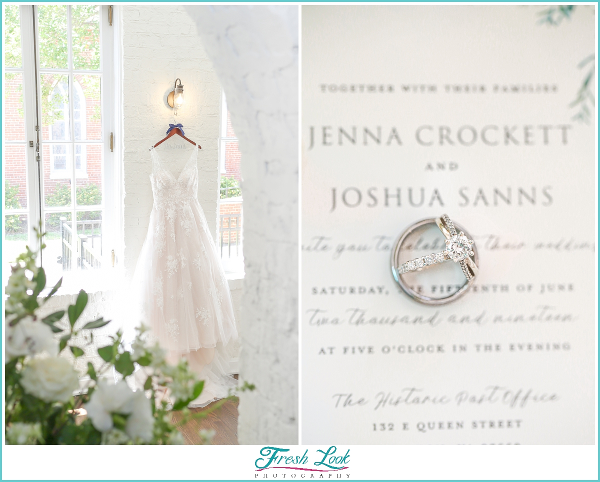 wedding dress and engagement rings