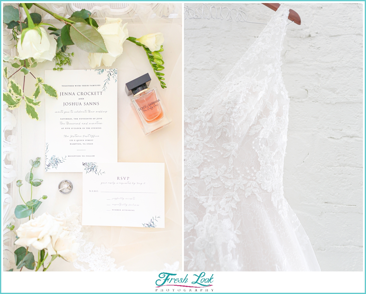 wedding dress and wedding stationery