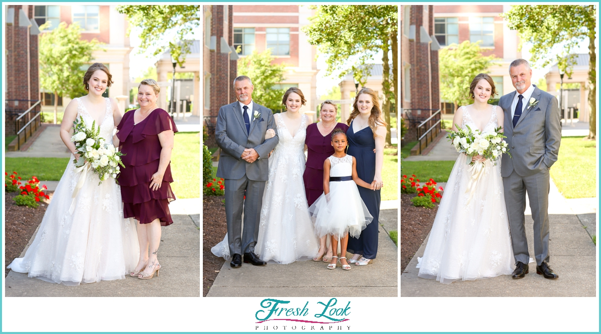 bride and her family photos