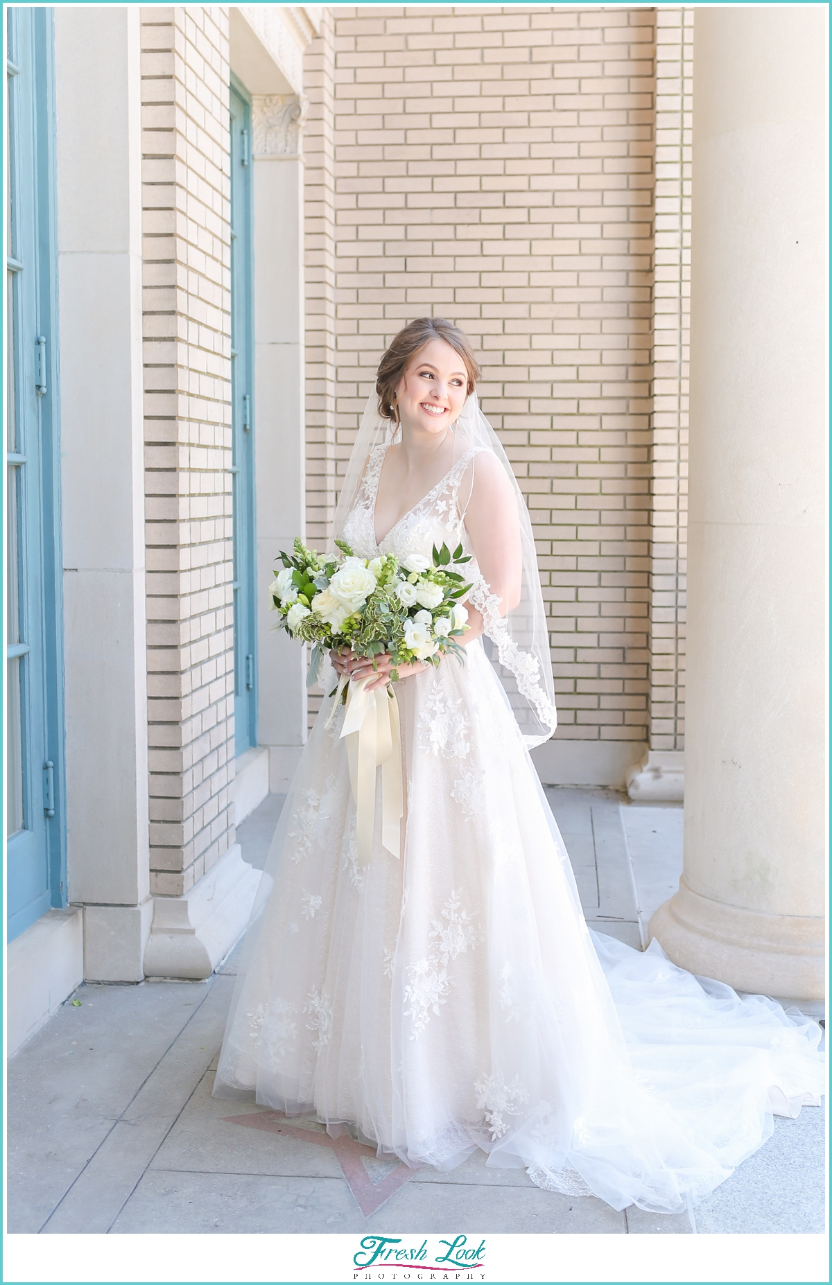 romantic bride at Historic Post Office